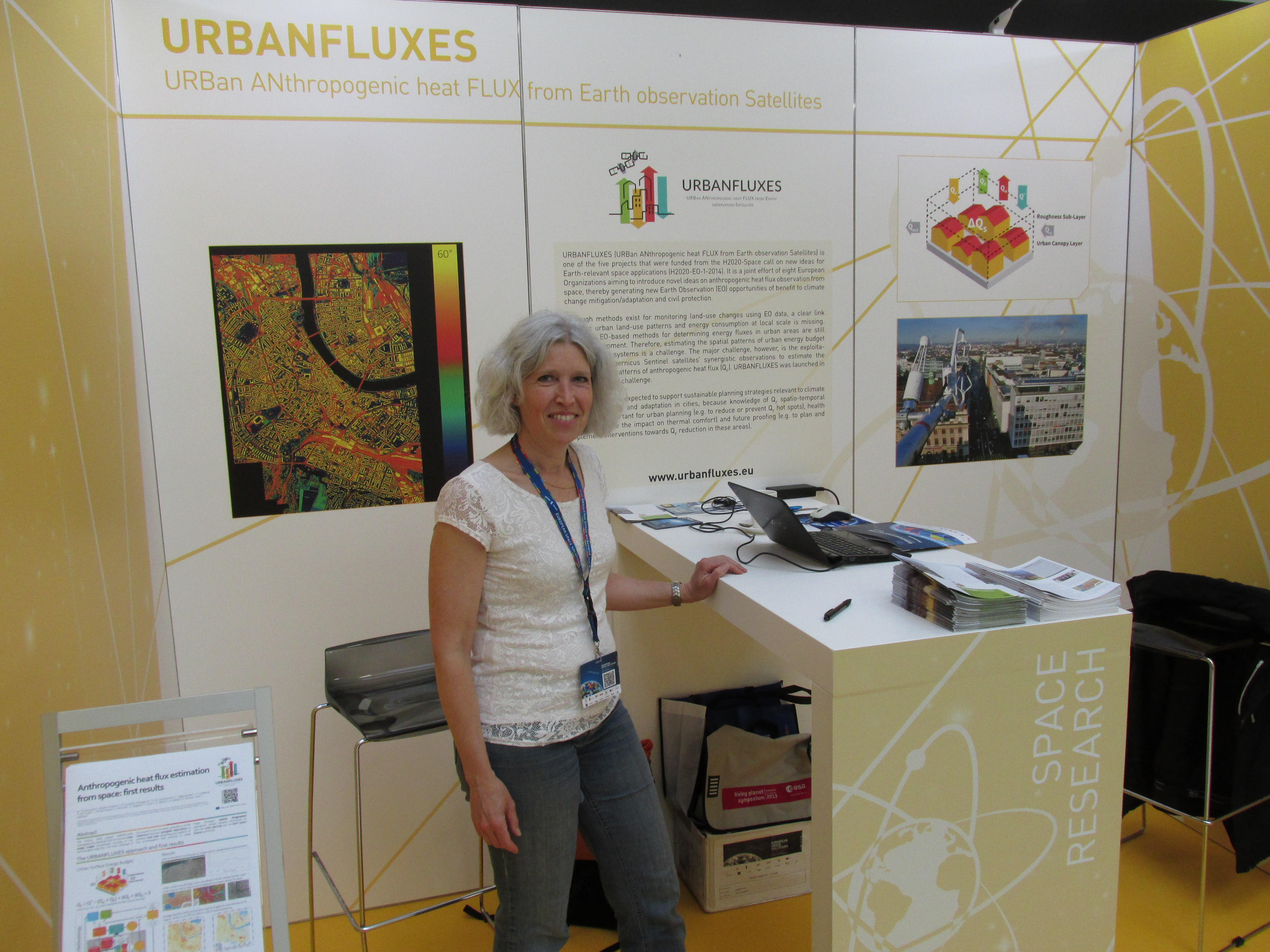 Judith Klostermann in the URBANFLUXES stand during European Space Solutions