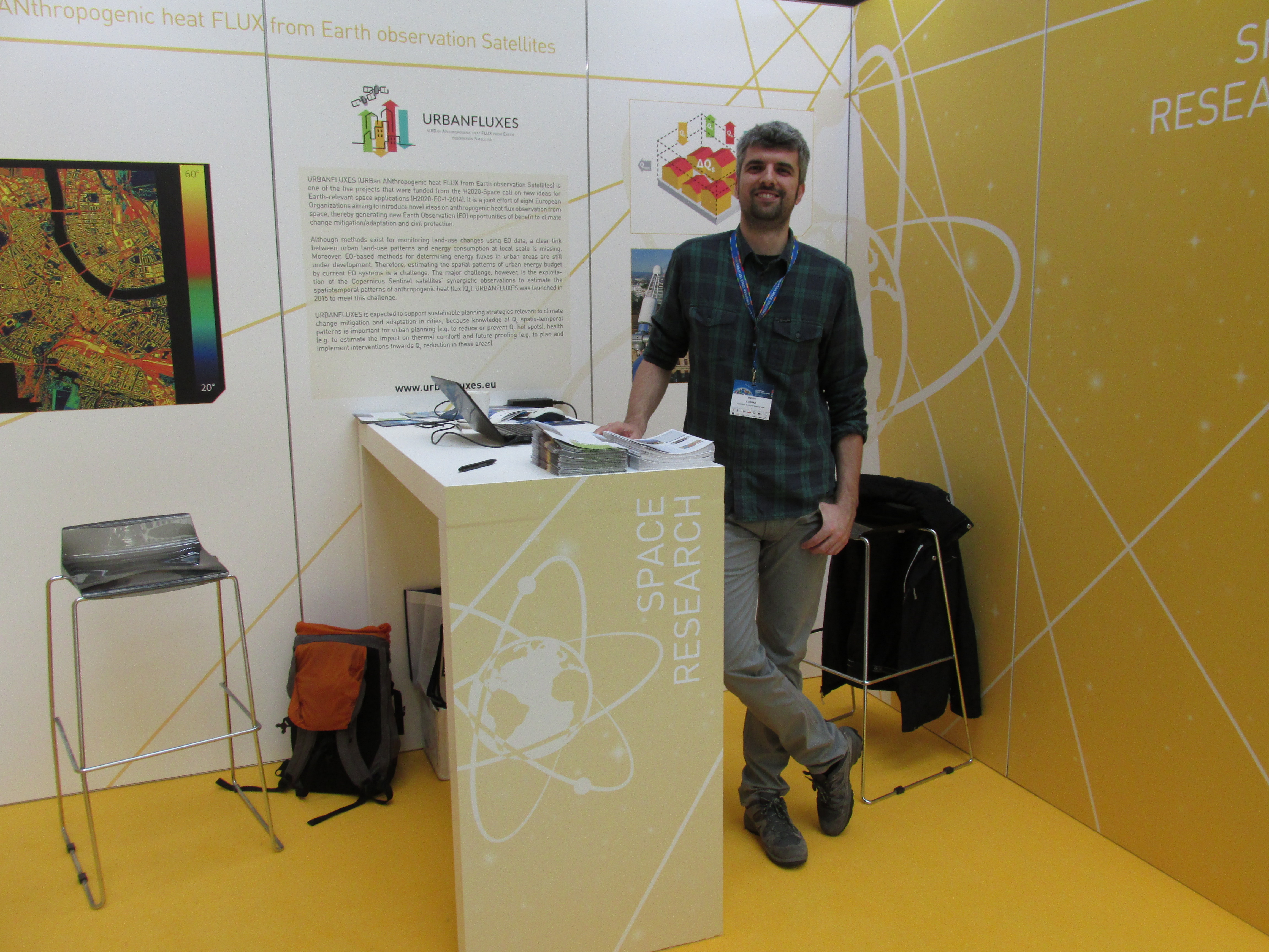 Stavros Stagakis in the URBANFLUXES stand during European Space Solutions