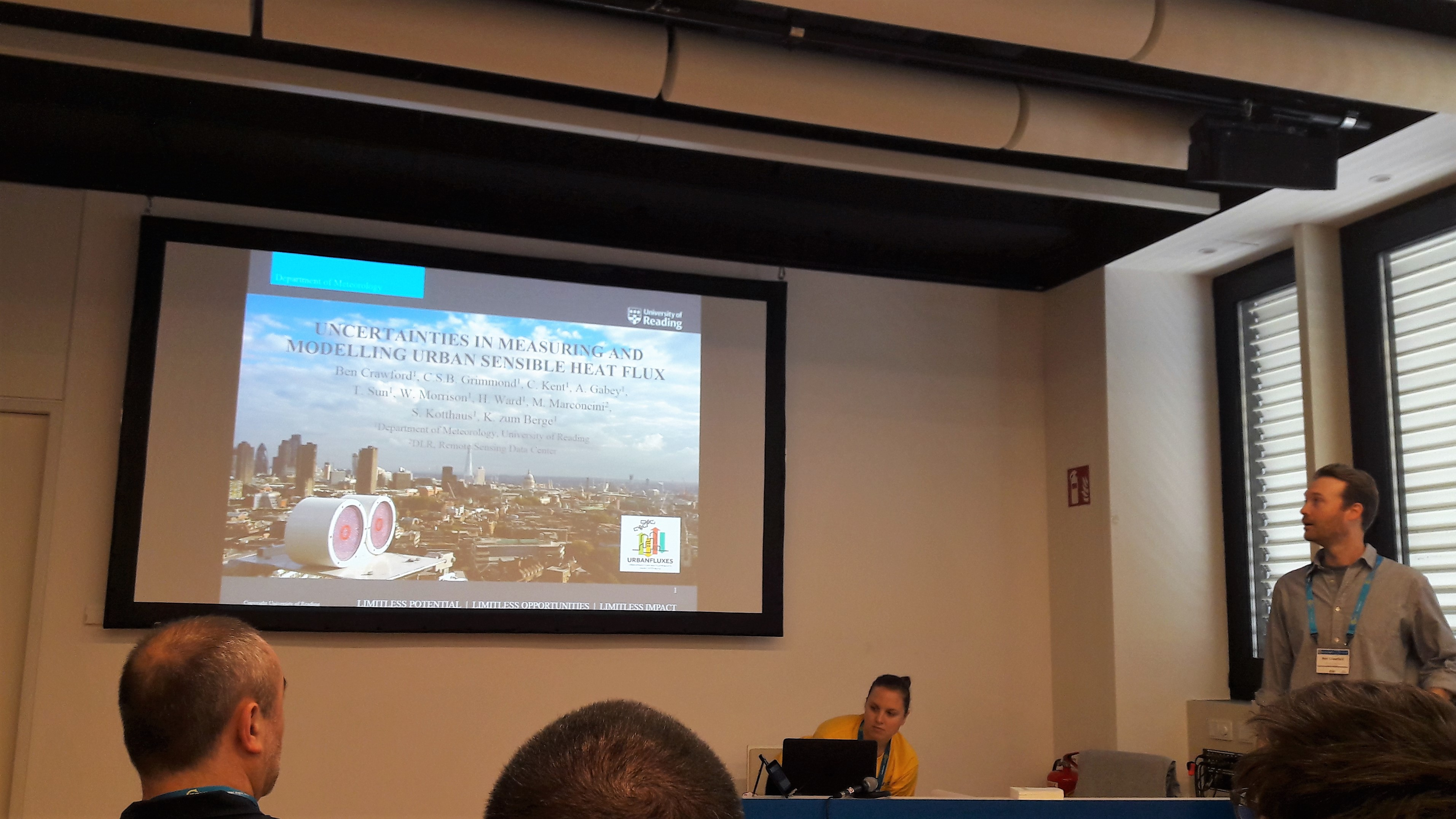 Dr. Ben Crawford presenting the turbulent heat fluxes measuring methodologies in the EGU General Assembly, 2017