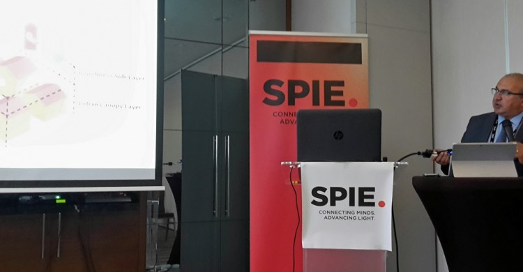 Dr. Nektarios Chrysoulakis presenting the latest findings of URBANFLUXES project in SPIE Remote Sensing 2017