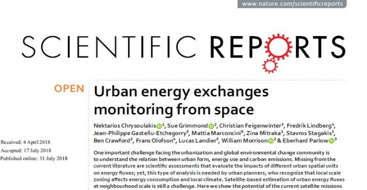 URBANFLUXES overview paper published in natureresearch journal Scientific Reports.